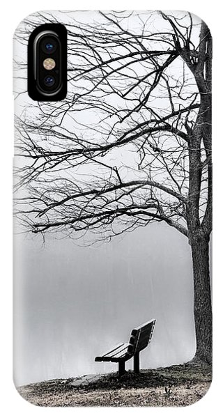 Park Bench And Leafless Tree In Fog - Hi-key IPhone Case