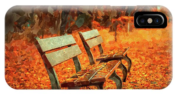 Park Bench iPhone Case - Park Bench In Fall by Ricky Barnard