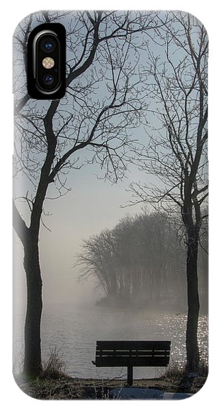 Park Bench In Morning Fog IPhone Case