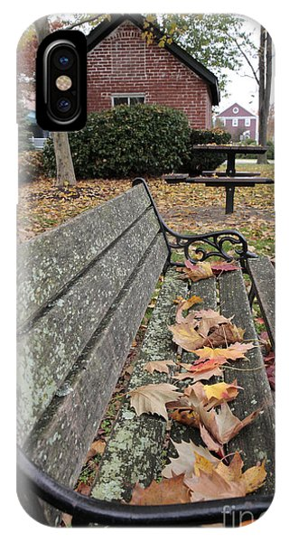 iPhone Case - Park Bench With Maple Leaves In Autumn by William Kuta