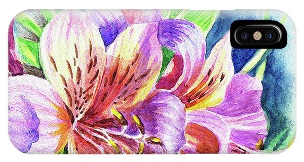 Peru iPhone Case - Parrot Peruvian Lilies by Irina Sztukowski