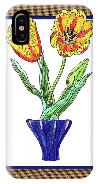 Black Tulip iPhone X Case - Parrot Tulips In The Blue Vase Watercolor On Canvas by Irina Sztukowski