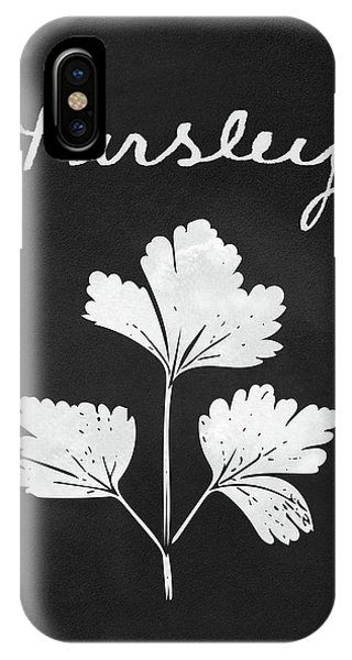 Leaf iPhone Case - Parsley Black And White- Art By Linda Woods by Linda Woods