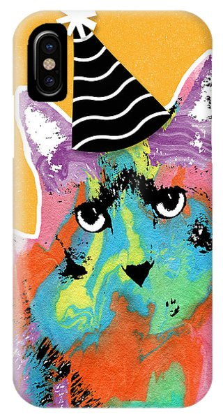 Watercolor iPhone Case - Party Cat- Art By Linda Woods by Linda Woods