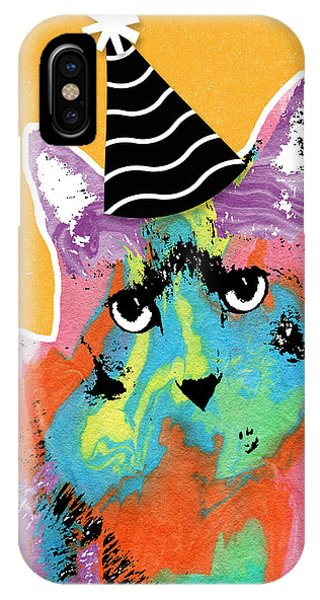 Wood iPhone Case - Party Cat- Art By Linda Woods by Linda Woods