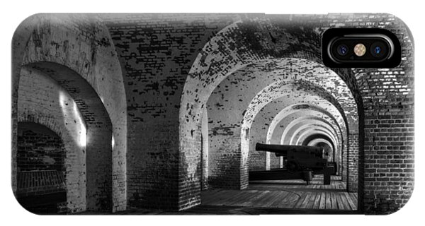 Passageways Of Fort Pulaski In Black And White IPhone Case