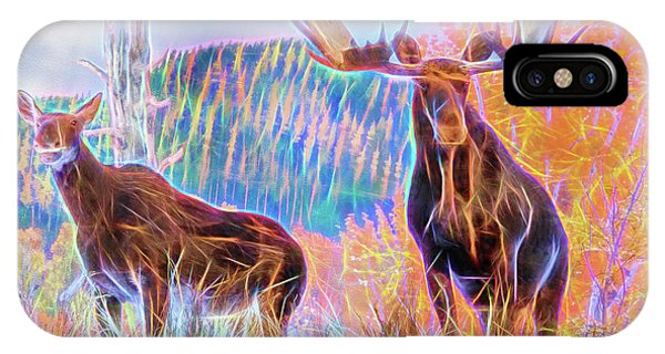 IPhone Case featuring the photograph Pastel Moose Couple by Ray Shiu