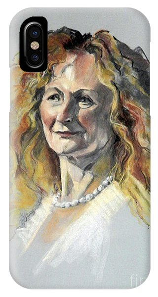 Pastel Portrait Of Woman With Frizzy Hair IPhone Case