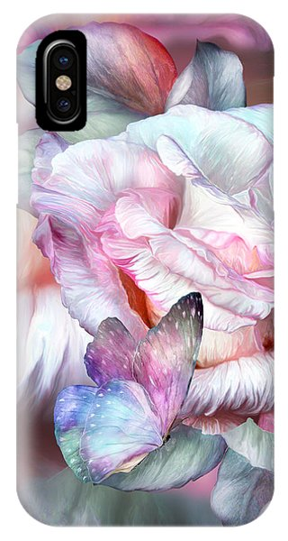 Pastel Colors iPhone Case - Pastel Rose And Butterflies by Carol Cavalaris