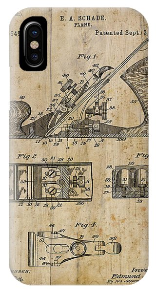 Woodworking iPhone Case - Patent Art Plane 1895 by Cynthia Decker