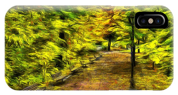 Park Bench iPhone Case - Path Through Fall by Mark Kiver