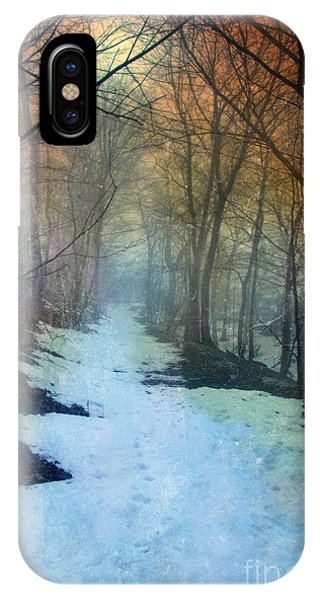 Path Through The Woods In Winter At Sunset IPhone Case