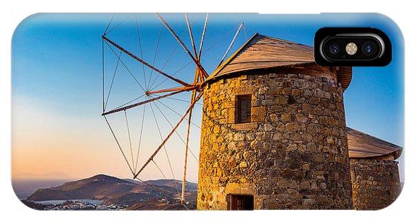Greece iPhone X Case - Patmos Windmills by Inge Johnsson