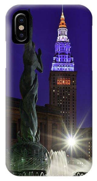 Patriotic Cleveland Fountain  IPhone Case