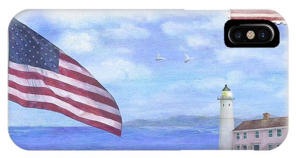Patriotic Illustrated Lighthouse IPhone Case