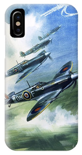 In Flight iPhone Case - Patrolling Flight Of 416 Squadron, Royal Canadian Air Force, Spitfire Mark Nines by Wilf Hardy