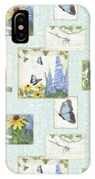 Repeat iPhone Case - Pattern Butterflies Dragonflies Birds And Blue And Yellow Floral by Audrey Jeanne Roberts