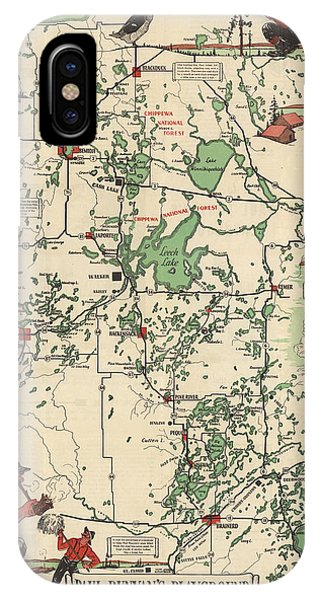 Paul Bunyan's Playground - Northern Minnesota - Vintage Illustrated Map - Cartography IPhone Case