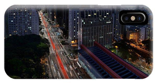 Paulista Avenue And Masp At Dusk - Sao Paulo - Brazil IPhone Case