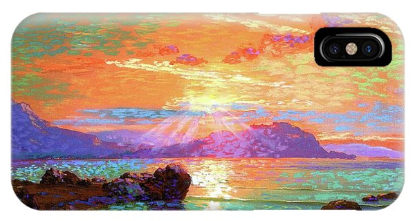 Orange Sunset iPhone Case - Peace Be Still Meditation by Jane Small