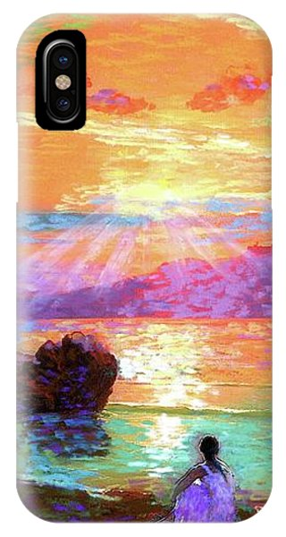Hawaiian Sunset iPhone Case - Peace Be Still Meditation by Jane Small