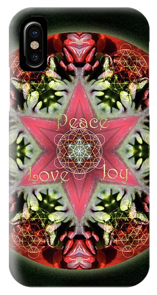 iPhone Case - Peace Love Joy Holiday Star by Alicia Kent