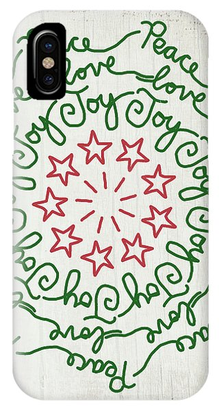 Winter iPhone Case -  Peace Love Joy Wreath- Art By Linda Woods by Linda Woods