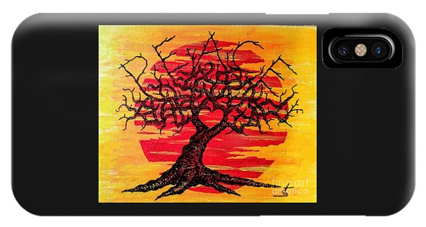 IPhone Case featuring the drawing Peace Love Tree by Aaron Bombalicki