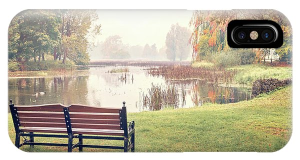 Park Bench iPhone Case - Peace Of Autumn by Evelina Kremsdorf