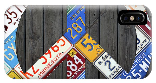 Peace Sign Recycled Vintage License Plate Art By Design Turnpike IPhone Case