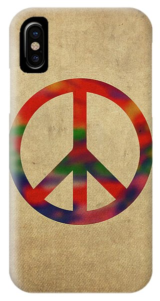 Peace Sign Symbol In Watercolor IPhone Case