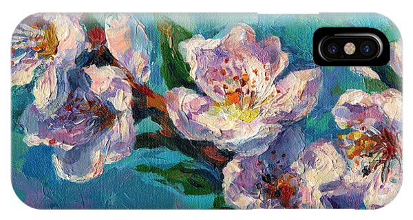 Russian Impressionism iPhone Case - Peach Blossoms Flowers Painting by Svetlana Novikova