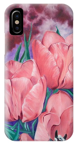 Perennially Perfect  Peach Pink Tulips IPhone Case