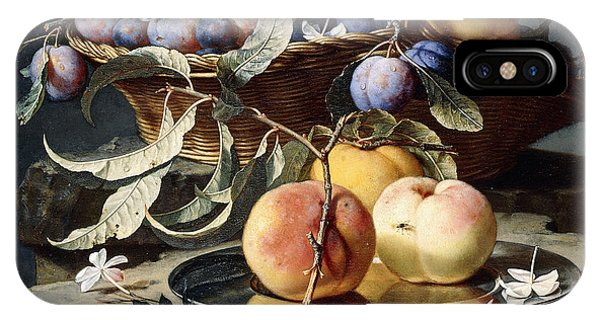 Peaches And Plums In A Wicker Basket, Peaches On A Silver Dish And Narcissi On Stone Plinths IPhone Case