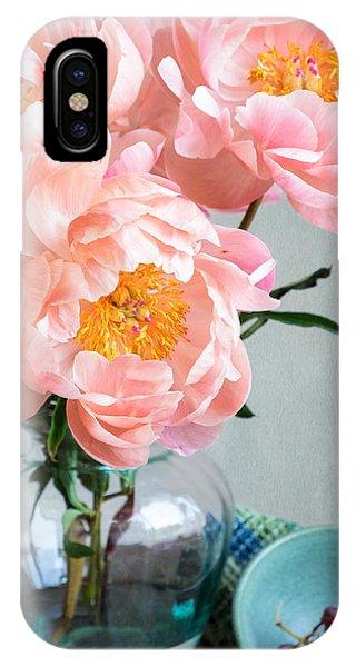 Peachy Peonies IPhone Case