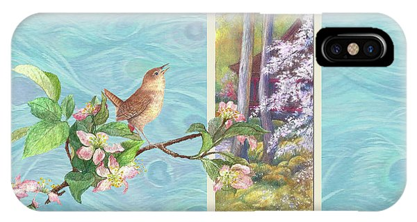Peacock And Cherry Blossom With Wren IPhone Case