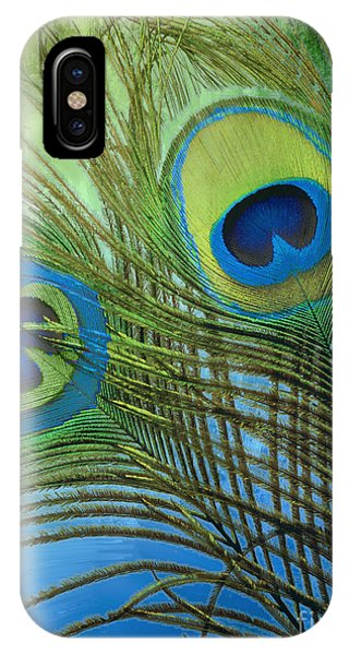 Peacocks iPhone Case - Peacock Candy Blue And Green by Mindy Sommers