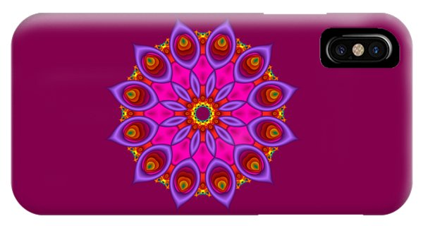 Peacock Fractal Flower II IPhone Case