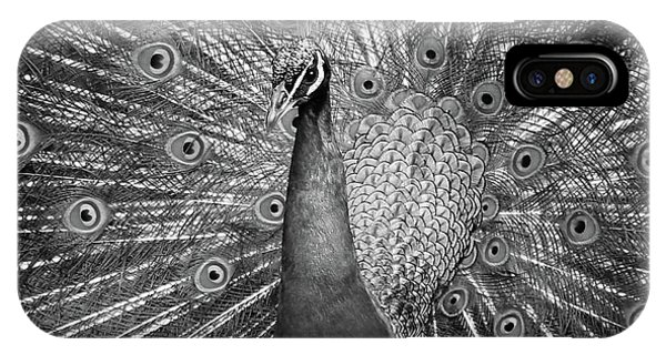 Peacock In Black And White IPhone Case