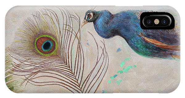 IPhone Case featuring the painting Peacock In Three Views by Nancy Lee Moran