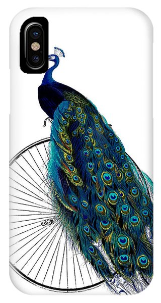Aqua iPhone Case - Peacock On A Bicycle, Home Decor by Madame Memento