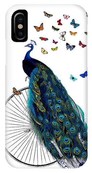 Plumes iPhone Case - Peacock On A Bicycle With Butterflies by Madame Memento