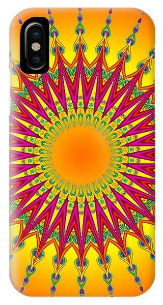 Peacock Sun Mandala Fractal IPhone Case