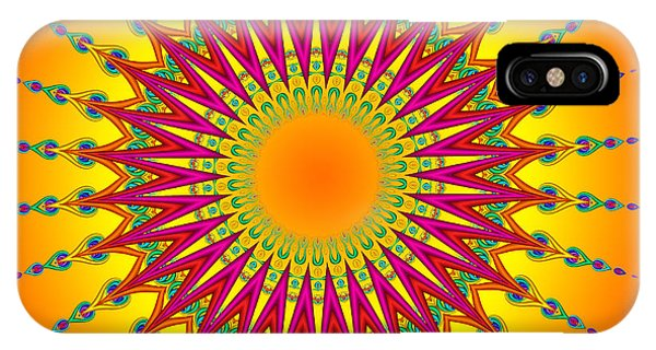 Peacock Sun Mandala Fractal IPhone Case