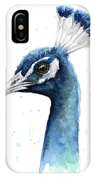 Bird Watercolor iPhone Case - Peacock Watercolor by Olga Shvartsur