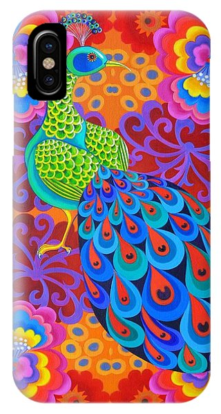 Peacocks iPhone Case - Peacock With Flowers by Jane Tattersfield