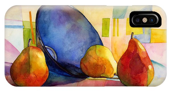 Pears iPhone Case - Pears And Blue Bowl by Hailey E Herrera