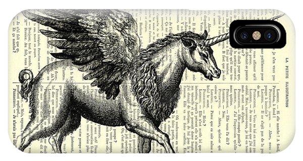 White Horse iPhone Case - Pegasus Black And White by Madame Memento