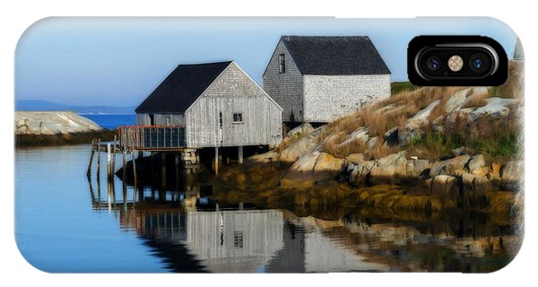 Peggys Cove Marina With Fishing Houses  IPhone Case