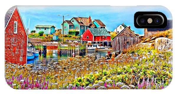 Peggy's Cove Wildflower Harbour IPhone Case